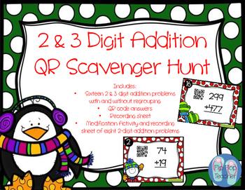 2 & 3 Digit Addition Problems QR Scoot Scavenger Hunt