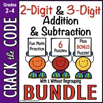 2- & 3-Digit Addition & Subtraction Practice~ Crack the Code Bundle