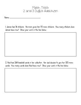 2 & 3 Digit Addition Test