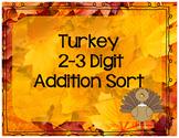 2-3 Digit Addition Turkey Sort