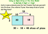 2-3 Digit Area Model Multiplication Smartboard and Worksheet 4.NBT.B.5