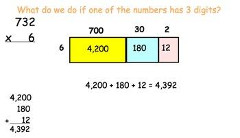 2-3 Digit Area Model Multiplication Smartboard and Worksheet 4.NBT.B.5