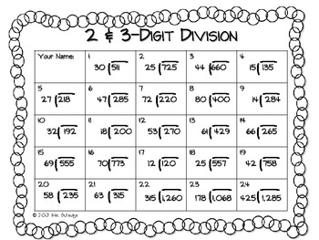 digit division worksheet by math in room   tpt