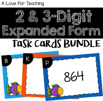 8 & 8 Digit Expanded Form Task Cards BUNDLE