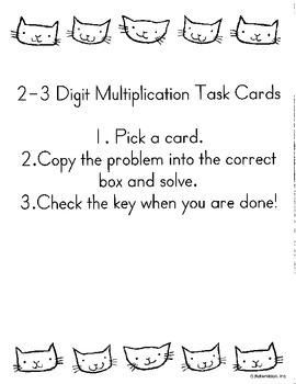 2-3 Digit by 1 Digit Multiplication Task Cards