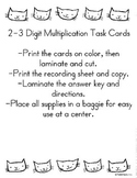 2-3 Digit by 1 Digit Multiplication Task Cards
