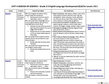 2-3 ELD English Language Development Levels 1, 2 – Unit 4