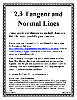 2.3 Tangent and Normal Lines