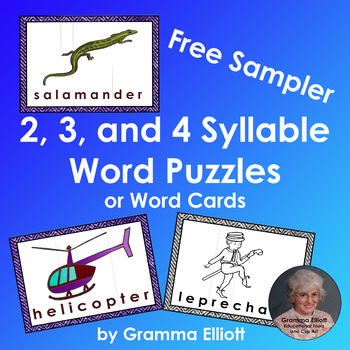 2, 3, and 4 Syllable Word Puzzles or Word Wall Cards Free Sampler