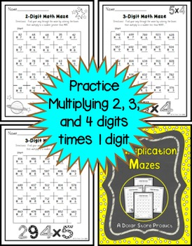 2, 3, and 4 digit multiplication practice math mazes