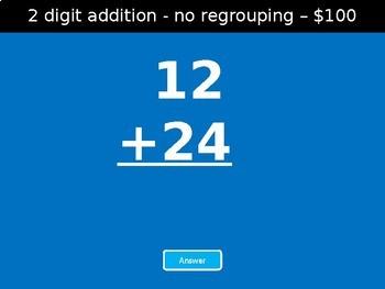 Addition Jeopardy Style Game Show - 2 & 3 digits 2nd Grade