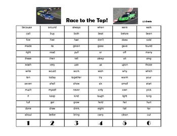 2/3 grade Dolch site word game - Race to the Top!