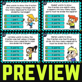 2.3A Math Activity ★ SHAPES INTO FRACTIONS 2nd Grade ★ Math TEK 2.3A Task Cards