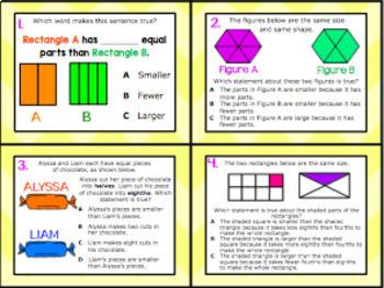 2.3B: Fractions: Equal Parts TEKS Aligned Task Cards! (2.G)