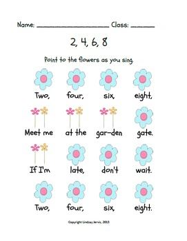 2, 4, 6, 8, Meet Me at the Garden Gate: A song for teaching ta and titi