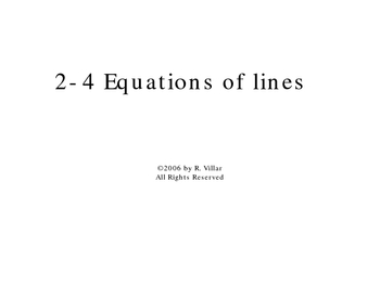 2-4 Equations of Lines