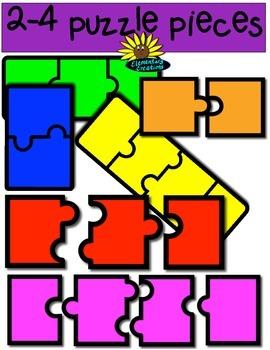 2 - 4 Puzzle Piece Set (clipart)