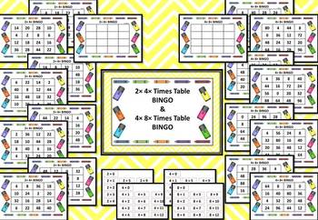 2, 4 and 8 Times Table BINGO
