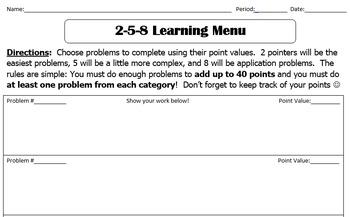 2-5-8 Learning Menu Template