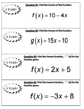 2-5-8 Student Learning Menu: Inverses of Functions