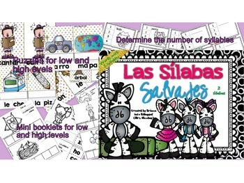 2-5 Syllables BUNDLE in SPANISH - PAQUETE de 2-5 silabas Grades PK-2