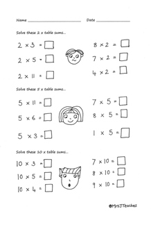 2, 5 and 10 times table - hand drawn worksheets. Early multiplication.