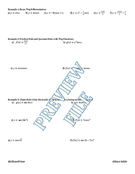 2.6 Trigonometric Derivatives