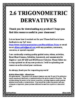 2.6 Trigonometric Derivatives