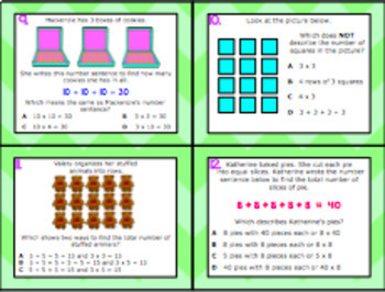 2.6A: Multiplication TEKS Aligned Task Cards (GRADE 2) (2.OA.3, 2.OA.4)