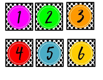 2.75X2.75 calendar numbers--Polkadots and Bright Letters