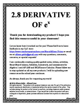 2.8 Derivative of e