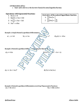 2.9 Derivative of lnx