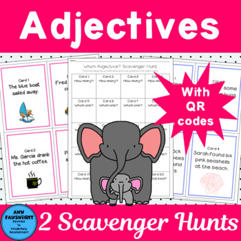 2 Adjective Scavenger Hunts With QR codes for self checking