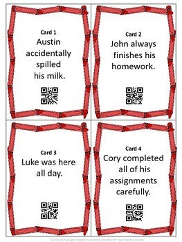 2 Adverb Scavenger Hunts with QR Codes for self checking