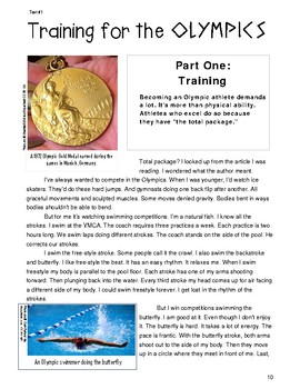 """Reading & Writing Test Prep Guide~1 Poem & 1 Text PAIRED """"Swim Meet"""" &""""Olympics"""""""