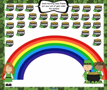 2 Attendance March St. Patricks's Day Interactive Smartboard Morning - 2 Pages