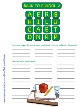 """2 """"Back to School"""" vocabulary puzzles (This game is like Boggle™)"""