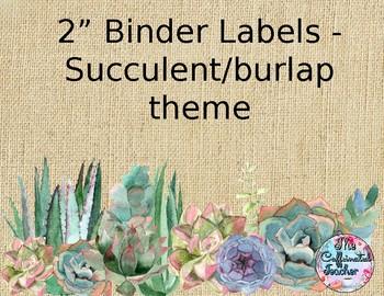 """2"""" Binder Labels - Succulent/Burlap Theme"""