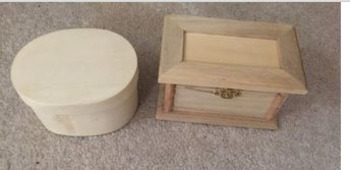 2 Brand new small wooden boxes-perfect for colonial America Unit