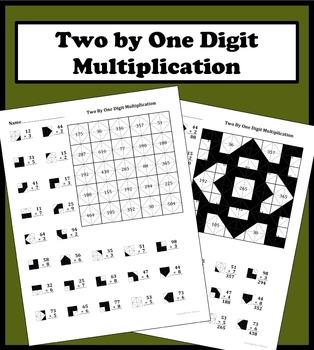 2 by 1 digit multiplication color worksheet by aric thomas tpt. Black Bedroom Furniture Sets. Home Design Ideas