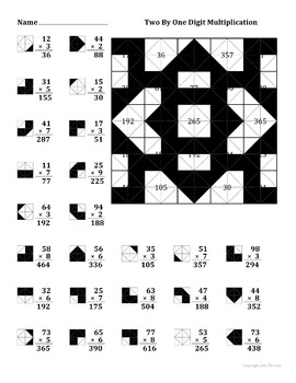 2 By 1 Digit Multiplication Color Worksheet by Aric Thomas ...