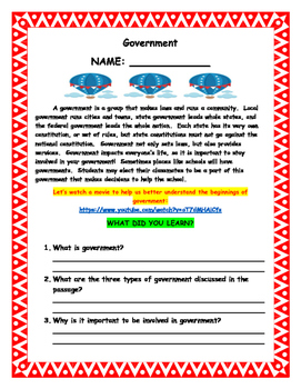 2.C&G.1 Government Activities for Second Grade
