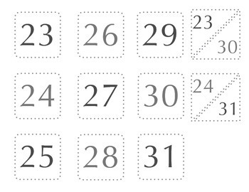 """2"""" Calendar Numbers and Labels"""