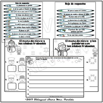 2 Centros de palabras y oraciones  Sílabas Trabadas Pl Pr Snowman WinterCenters