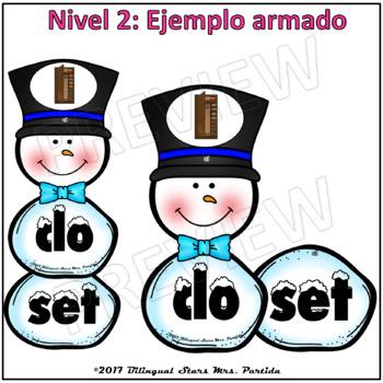 2 Centros de palabras y oraciones  Sílabas Trabadas cl cr Snowman WinterCenters