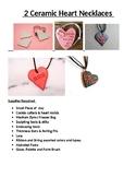 2 Ceramic Hearts Necklaces