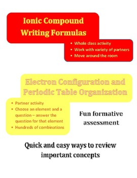 Duo of Chemistry activities - ionic compound formulas and electron configuration