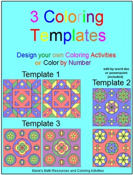 COLORING TEMPLATES: 3 TEMPLATES (PERSONAL USE ONLY)