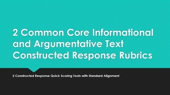 2 Common Core Informational and Argumentative Text Constructed Response Rubrics