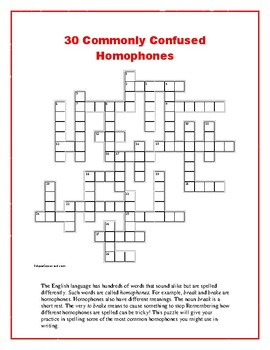 2 Commonly Confused Homophones Crosswords 1 Comprehensive Unique Approach